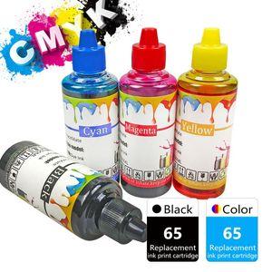 Ink Refill Kits 100ml Inks Black Color Compatible For 65 Envy 5000 5010 5012 5014 5020 5030 5032 5034 5052 5055 Printer