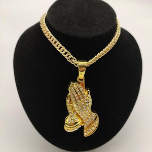 "Out Prayer Hands Pendant 18"" Full Iced Miami Cuban Choker Chain Necklace Women Men Hip Hop Jewelry Gift Gold Color Chains"