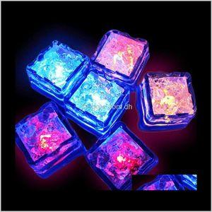 Decorations Festive Supplies Home Garden Drop Delivery 2021 7 Colors Mini Luminous Shine Artificial Ice Cube Flash Led Light Wedding Christma