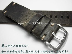 20 21 22mm Thick Cowhide Watch Band Strap Black Gray Crazy Horse Skin Retro Men Wristband Accessories Macho Style Bands