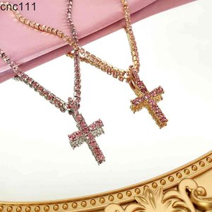 Personality Pink Cross Crystal Long Chain For Women Gold Silver Color Rhinestone Pendant Necklace Punk Hip Hop Jewelry