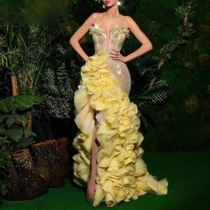 Gorgeours Yellow Prom Dresses Mermaid High Slit With Ruffles Sequins Spaghetti Sparkly 2021 Evening Dress Long Sexy vestidos