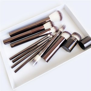 Hourglass Makeup Brushes Set - 10-pcs Powder Blush Eyeshadow Crease Concealer eyeLiner Smudger Metal Handle Brushes 210331