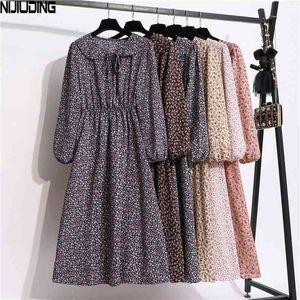 Nijuencia otoño nuevo vestido de gasa femenino de manga larga de manga larga a-line de impresión de solapa moda todo-coincidencia de cintura alta vestidos casuales 210406