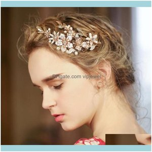 Wedding Jewelrywedding Bridal Tiara Crown Flower Aessories Clip Jewelry Comb Crystal Rhinestone Head Pieces Pearl Headdress Gold Princess Ha