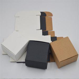 Foldable Small Kraft paper box,brown cardboard handmade soap box,white craft paper gift box,black packaging jewelry box