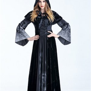 Halloween Party Cosplay Devils Costume Women Vampires Witches Floor Length Dress With Shawl Bandage Robe Print Festival Wear Costumes