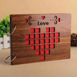 8 Inch Wood Cover Albums Handmade Loose Leaf Pasted Photo Album Personalized Baby Lovers DIY Wedding Memorial Photo Album 210330