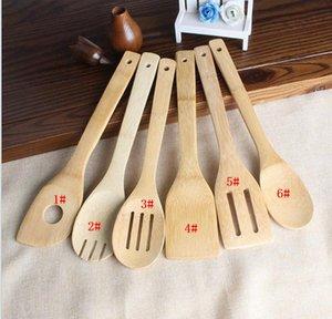 Colher de bambu espátula 6 estilos portáteis utensílio de madeira Cozinha Turners Cozinhar Slotted Holder Shovels DHL