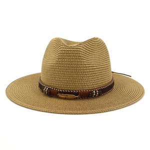 Western Cowboy Hat Sun For Men Cowgirl Summer Hats Women Lady Straw With Alloy Feather Beads Beach Cap Panama Wide Brim