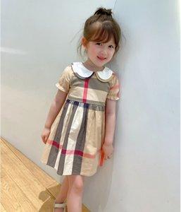 Children designer plaid dress girl cotton princess dresses khaki summer kids doll collar short sleeve casual clothing S1122