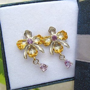 Dangle & Chandelier Orchid Teardrop Shape Pendant Earrings Women's Fashion Bohemian Purple Crystal Inlaid Accessories Jewelry