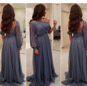 Темно-синий шифон вечерние платья 2020 горячие продажи Новый пользовательский аппликационный складки с бедным плечом с длинным рукавом Формальные партии E257