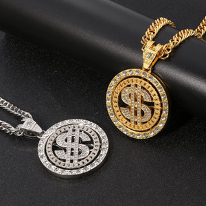 Hip Hop Men Gold Sliver Color Necklace Out Crystal Miami Rotatable Dollar Sign Rock Pendant Bling Rapper Jewerly For Necklaces