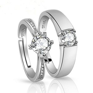 Luxury fashion s925 silver wedding Solitaire ring zircon moissanite men and women jewelry lovers gift