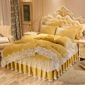 Bed skirt Princess wind cotton four piece set thickened crystal warm double side coral velvet 1.8x2m TKCY