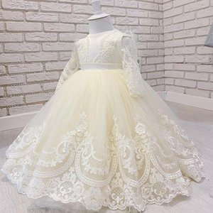 2021 Ivory Lace Flower Girl Dresses Ball Gown Crew Long Sleeves Tulle Lilttle Kids Birthday Pageant Weddding Gowns
