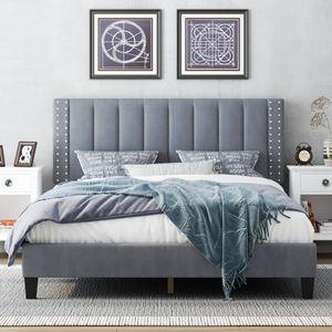 Queen Size Bedframe with Adjustable Headboard, Bedroom Furniture, Beds, Upholstered Platform, Bedstead, Mattress Foundation, Wooden Slats Support