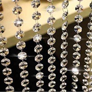 10m Clear Acrylic Crystal Beads Cortina Garland Chandelier Colgantes Colgante Cadena Navidad Boda Fiesta Decoración Decoración para el hogar 210408