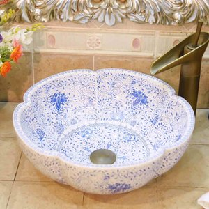 Blue and white pattern Round Countertop Ceramic Sink Bathroom wash Basingood qty