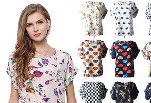 Big Dot Blouse Summer Women Shirt Short Sleeve Chiffon Casual Shirts Thin Tops Blusas Solid Floral Geometric