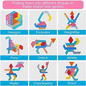 Shapes changeable push pop fidget bubbles popper toys sensory silicone jigsaw tangram puzzle finger bubble fingertip desktop parent child kids game G61TSQQ