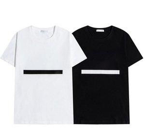 2021 Mens t shirt Letter Stripe Printing Round Neck Short Sleeve Fashion Hobby Designer Black and White M-2XL