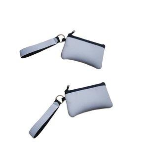 Sublimação Em branco do cartão de crédito suporte sacos de armazenamento de transferência de calor Imprimir neoprene bolsa com bolsas de carteiras de pulseira de corda # 18