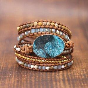 Tennis Vintage 5X Leather Wrap Bead Bracelet Ocean Jasper Boho Chic Jewelery Handmade Bohemian