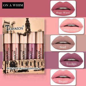 TEAYASON 5pcs Nude Matte Liquid Lipstick Set Sexy Red Velvet Lip Gloss Waterproof Long Lasting Makeup Lips Tint Cosmetic Beauty