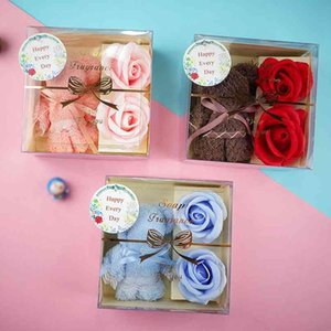 Custom Bear Towel Box Christmas Mother's Valentine's Day Festival Soap Rose Flower Gift Multifunction Creative Practical LLA497 AK3W