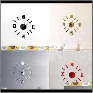 Clocks Décor & Garden Drop Delivery 2021 2Pc Modern Diy Large 3D Mirror Surface Sticker Home Decor Art Giant Wall Clock Watch With Roman Nume