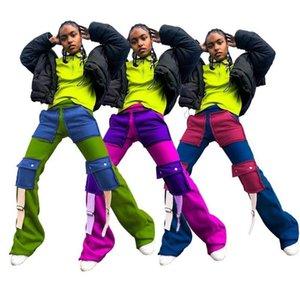 Cargo Pant Women Fashion Streetwear Color Block Patchwork High Waist Jogger Sweatpant Casual Pockets Bell Bottom Trouser Capris