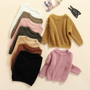Pullover Baby Girls Boys Unisex Solid Color O-neck Sweater, Loose Fit Long Sleeve Knitted For Autumn, Winter Clothes 3-9M