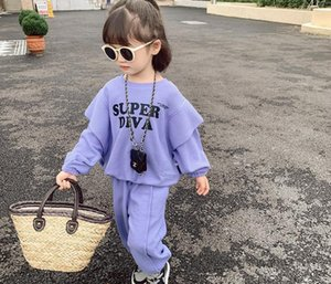 Autumn girls letter printed clothes sets kids falbala fly sleeve sweatshirt+loose casual pants 2pcs fashion children sports outfits Q1966