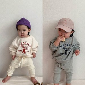Girls Sets Baby Tracksuit Infant Outfits Cotton Long Sleeve Letter T Shirt PP Pants Trousers 2Pcs Boys Clothes Toddler Wear 0-2T B4642