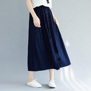 Skirts Ruffles Women'S Skirt 2021 Summer Streetwear Pleated Vintage Faldas Mujer Casual Jupe Femme Plus Size 5637