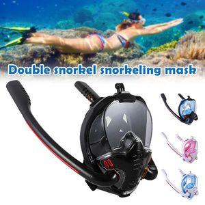 Masque de plongée en plein air avec mont de caméra détachable 180 degrés panoramique HD Vue HD Anti-Fog anti-fuite Snorkeling Gear H7JP Masques de plongée