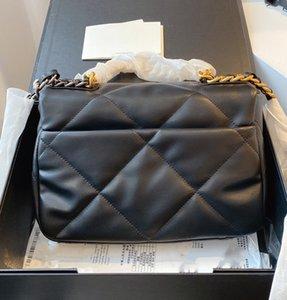 Avec boîte Véritable Sac de designer en cuir de luxe N ° 19 Gold Tone FLAP Sac Candy Couleur Designer Sacs 26cm Trade de haute qualité