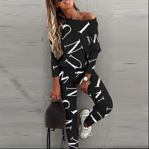 Letter Print Black Two Pieces Womens Tracksuits Sets Casual Long Sleeve Pullover Tops Slim Fit Pants Leggings Female Sports Wear