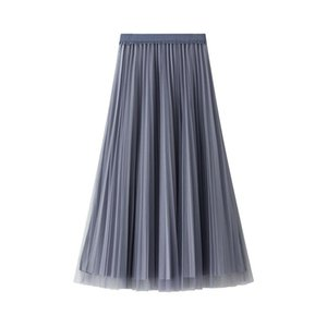 Skirts Yarn For Young Women Spring Elastic Waist A-line Gauze Skirt Midi Length Double-sided Pleated Ladies BSQ079