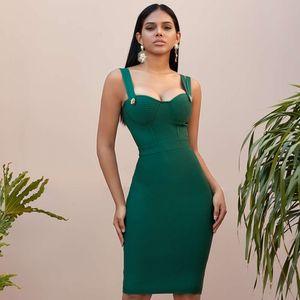 2021 New Summer Green Bandage Dresses Women Sexy Sleeveless Strap Club Celebrity Runway Evening Party Vestidos Wvcf