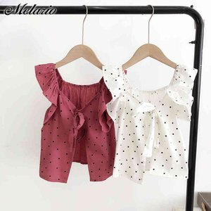 Melario Baby Girls T-shirts Summer Cute Polka Dot Kids Tops Causual Girk Kids Clothes Baby Suits Children Cltohing Costumes 210412