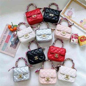 Kids Girls Classic Flap Quilted Handbag Silk Scarf Twill Hand Bag Handle Wrap Purse Crossbody Shoulder Messenger Bags Chain Bag Fanny Packs Perty Tote G109EGQO