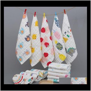 Robes Bath Shower Baby, Kids & Maternity Drop Delivery 2021 Baby Towels 6 Layers Cotton Gauze Born Handkerchief Cartoon Soft Infant Face Towe