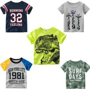 2021 Summer T-shirt for Boys Shark Print T Shirt Kids Tops Tees Short Sleeves Cartoon Baby Clothes 2-8 Years Dropship