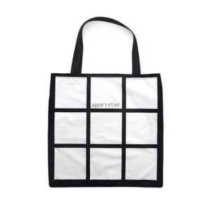 Sublimation Grid Tote Bag Blank Bianco FAI DA TE Trasferimento di calore Transfer Shopping Bag 9 Pannelli Tessuto Frabic Reusable Storage Bag Gearbag