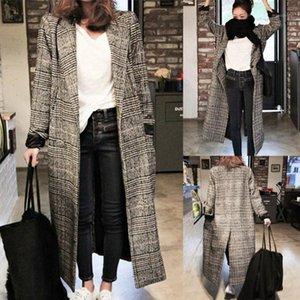 Wail Vintage Женская Куртка Плюс Размер Длинный Рукав За клетчатой Клапс кардиган Пальто Женщины Мода Отворачивается Без с капюшоном