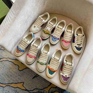 Screener sneakers Denim lady Thick soled Casual shoe leather sneaker Letters lace-up platform Leisure women shoes fashion Flat canvas