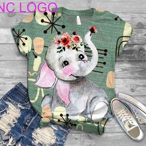Simplicity Cute Elephant 3Printed Women Tshirt Summer New Short Sleeve Elegant Large Size Ladies Tee Street Hipster Ropa Mujer